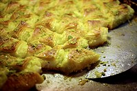 Baklava, a traditional dessert is sold at a market in the old city of Jerusalem