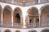 Wawel castle renaissance inner courtyard in Krakow Poland
