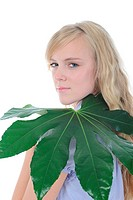 woman with green leaf. Isolated on white background