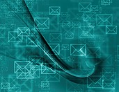 Abstract design of mail envelopes flying in cyberspace