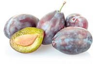 Plum group isolated on white, clipping path included