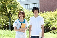 Two students standing outside
