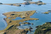 Aerial view, pseudo crater, lake Mývatn or Myvatn, northern Iceland, Iceland, Europe