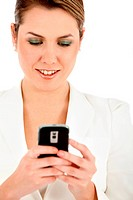 Business woman writing a text message on her mobile _ isolated
