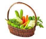 vegetables in basket isolated on white background
