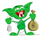 EPS 8 / A green marketing goblin holding a PC mouse and a bag of money.