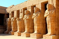 ancient egypt pharaoh statues in Luxor karnak temple