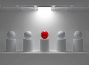 Leadership concept with red sphere and many white spheres