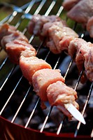 Fresh meat on the grill with charcoal