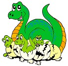 Dinosaur mom with cute babies _ isolated illustration.