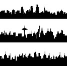 Various city skyline silhouettes