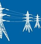 vector power line illustration on blue background