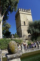 Gardens and fountains of the Alcazar de los Reyes Católicos, Fortress of the Kings, Cordoba, Andalusia, Spain, Europe