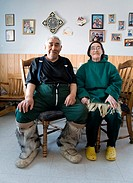 Portrait of an ´Eskimo´ Gojahaven is a town in the far north of canada where 1000 IInuits are living