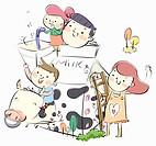 Family around the carton of milk