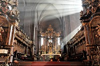 High altar by Johann Balthasar Neumann, Worms Cathedral, Cathedral of St Peter, built between 1130 and 1181, Worms, Rhineland-Palatinate, Germany, Eur...
