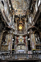 Interior view of Asamkirche Church, St. Johann Nepomuk church, Rococo building, Sendlinger Strasse, Munich, Upper Bavaria, Bavaria, Germany, Europe