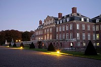 Schloss Nordkirchen moated castle in the dusk, Versailles of Westphalia, Nordkirchen, district of Coesfeld, Muensterland, North Rhine-Westphalia, Germ...