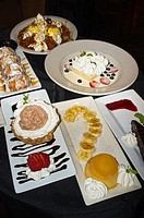 Display of different kinds of dessert in a restaurant