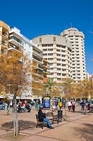 Paseo Maritimo seaside promenade in winter Fuengirola city Costa del Sol coast the Malaga region Andalusia Spain Europe