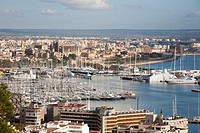 panoramic view from bellver castle, palma de mallorca, mallorca island, spain, europe