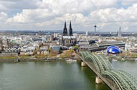 View from the Koeln Triangle office tower over the Rhine River with the Hohenzollern Bridge, Cologne Cathedral and the city of Cologne, North Rhine-We...