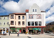 Commercial buildings in Poststrasse, Ilmenau, Thuringia, Germany, Europe, PublicGround