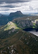 Aerial view of Cradle Mountain and crater lake