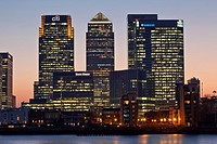 A View of Canary Wharf Financial District, London, England