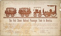 The first steam railroad passenger train in America . The Mohawk & Hudson Rail Road showing a steam engine with car for fuel followed by two passenger...
