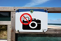 'No flash' photography sign at Little penguin colony  Bruny Island, Tasmania, Australia