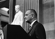 President Lyndon Johnson speaking in the capitol Rotunda before signing the Voting Rights Act. August 6, 1965