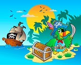 Pirate parrot and chest on island _ color illustration.