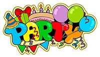 Cartoon party sign _ color illustration.