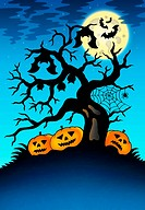 Spooky tree with bats and pumpkins _ color illustration.