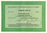 Share certificate, share for 100 Swiss Francs, Holding, Holderbank Financiere Glarus A._G., Zurich, 1970, Switzerland, Europe