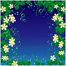 Abstract frame with yellow flowers and green leaves on a blue background.