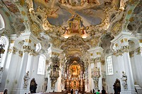 Interior view, Wieskirche, Wies Church, Allgaeu, Bavaria, Germany, Europe