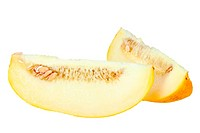 Two slice of ripe yellow melon. Close_up. Isolated on white background. Studio photography.