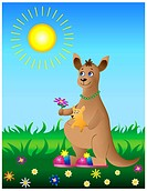 Vector illustration: cheerful mum_kangaroo with the kid