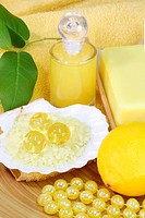 Sea bath salt and yellow accessories _ body care