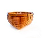 vintage brown weave wicker basket isolated on white background