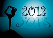 Yoga background with new year 2012 date