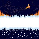 Xmas banner with reindeer and snowflakes