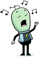 A cartoon little green alien singing a song.