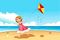 A vector illustration of a little girl flying a kite on the beach