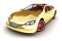Golden sportcar on white. My own design