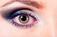 macro shot of a female eye with fashion make_up