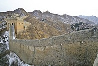 A section of the great wall of china on a cold winter day