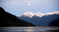 Moonrise over river
